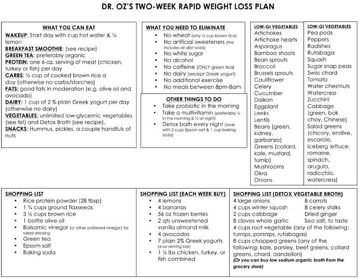 Ellen Tailor Dr. Oz Two Week Rapid Weight Loss Plan
