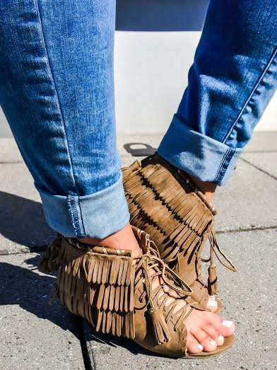Ellen Tailor Neon Green Fringe Boho Sandals Wedges